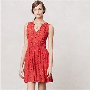 Anthropologie Leifnotes Red Pleated Skipper Dress